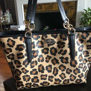 Genuine Coach Cheetah Print Leather tote